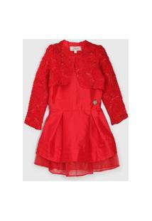 Vestido Carinhoso Menina Vermelho