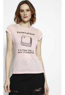 "Camiseta ""Generation""- Rosa Claro & Preta- Coca-Colacoca-Cola"