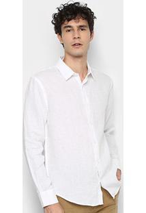 Camisa Social Vr Manga Longa Linho Lisa Masculina - Masculino-Branco
