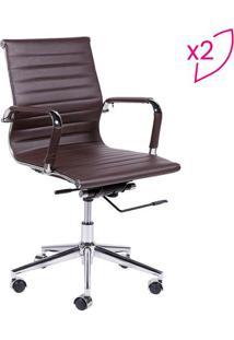 Jogo De Cadeiras Office Eames Esteirinha- Café & Prateador Design