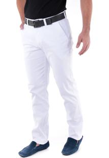 Calça Sarja Canelada Regular Amaciada Branco Traymon 3011