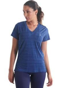Camiseta Líquido Gola V Mescla Feminina - Feminino-Azul