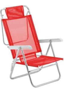 Cadeira De Praia Reclinável Botafogo Copacabana Vermelha
