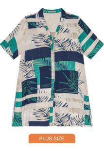 Camisa Feminina Plus Size Azul