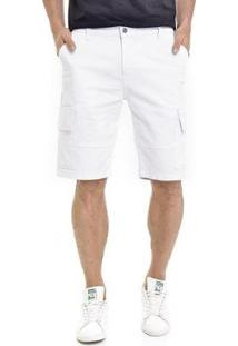 Bermuda Sarja Lemier Collection Cargo Masculina - Masculino-Branco