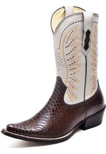 Bota Country Top Franca Shoes Bico Fino Anaconda Masculino - Masculino-Cafe