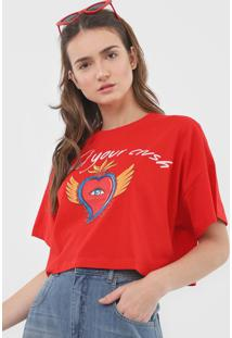Camiseta Cropped Colcci Find Your Crush Vermelha - Kanui
