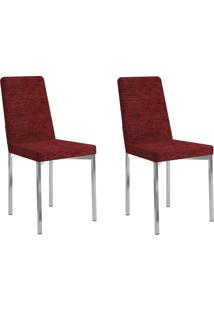 Kit 2 Cadeiras 399 Vermelho/Cromado - Carraro Móveis