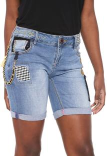 Short Jeans Desigual Light Wash Azul