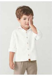 Camisa Manga Longa Menino Em Tecido De Algodão Toddler Off-White