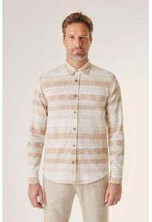 Camisa Ml Ft Jacquard Origens Reserva Masculino - Masculino-Bege