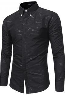 Camisa Masculina Slim Casual Estampada Manga Longa - Preto Xgg