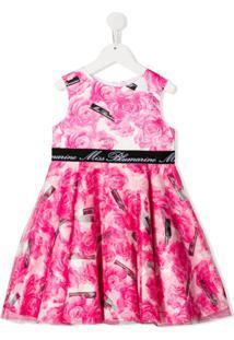 Miss Blumarine Vestido Com Estampa Floral E Mesh - Rosa