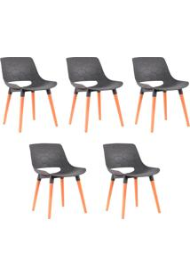 Kit 5 Cadeiras Decorativas Para Salas E Cozinhas Livclean (Pp) Cinza - Gran Belo - Cinza - Dafiti