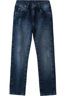 Calça Azul Escuro Skinny Jeans Estonado
