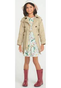 Vestido Infantil Em Tecido Maquinetada Estampado
