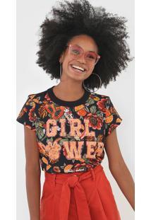 Camiseta Colcci Girl Power Preta - Preto - Feminino - Algodã£O - Dafiti