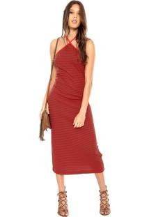 Vestido Cantão Midi Listrinha Vermelho/Preto