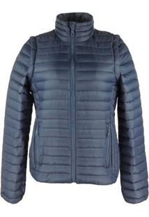 Jaqueta Feminina 2 Em 1 (Jaqueta E Colete) De Pluma Ultralight Alpine - Feminino-Marinho