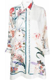 Salvatore Ferragamo Floral Print Tunic Shirt - Branco