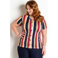 Camisa Com Botões Plus Size Listrada d5d5bc4a7df