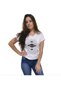 Camiseta Gola V Cellos Raspberry Premium Feminina - Feminino-Branco