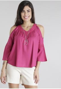 Blusa Open Shoulder Com Guipir Rosa Escuro
