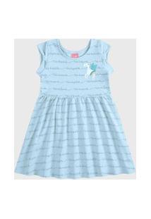 Vestido Kamylus Infantil Evasê Azul