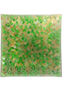 Fruteira De Mosaico- Verde & Bege- 3X30X30Cm- Btbtc Decor
