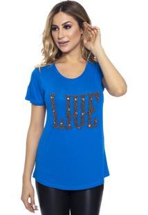 T-Shirt Cavallari Live Bordada A Mão Azul Bic