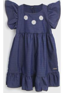 Vestido Colorittá Infantil Babados Azul