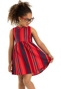 Vestido Tricoline Infantil Rovitex Kids Vermelho