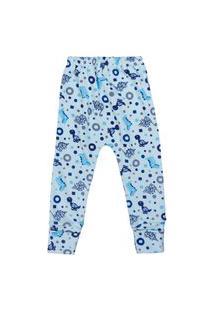 Calça Azul Claro Com Pé Reversível Suedine Dino Para Bebê Azul Claro