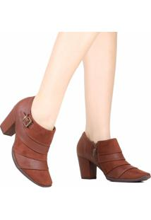 Bota Ankle Boot Piccadilly Salto Grosso Marrom