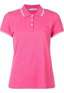 Moncler Camisa Polo Com Logo Bordado - Rosa