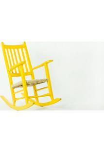 Cadeira De Balanço Palha Pestre Amarela - 64X112X110 Cm