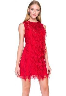 Vestido de renda vermelho curto comprar