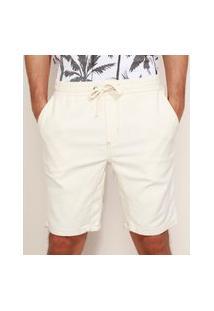Bermuda De Sarja Em Moletom Masculina Slim Com Cordão Off White