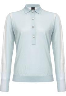 Pinko Camisa Polo De Tricô Com Detalhe Translúcido - Azul