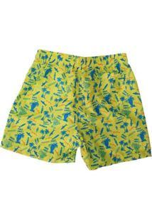 Bermuda Masculina Estampada Bolsos Cordão Ajustável - Masculino-Amarelo