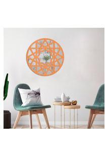 Escultura De Parede Wevans Mandala Abstract, Madeira + Espelho Decorativo Único