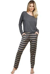 2fa725000 Pijama Inspirate Inverno List Feminino - Feminino-Cinza+Dourado