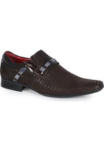 Sapato Social Calvest Couro Verniz Marrom