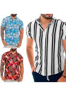 Kit Com 3 Camisas Sociais Masculinas Florais De Viscose Multicolorido