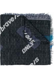 Diesel Lenço Jeans Com Logo Estampado - Preto
