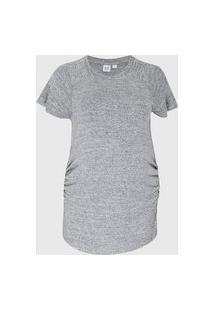 Camiseta Gap Gestante Drapeados Cinza