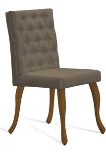 Cadeira De Jantar Leonardo Da Vinci I Capitonê Cetim Dourado
