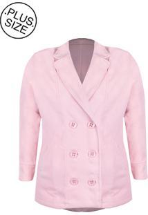 Casaco Linda D+ Transpassado Lã Batido Plus Size Rosa