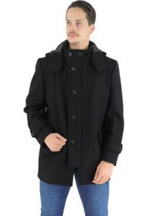 Casaco Masculino Colorado Em Lã Premium Com Capuz Removível - Masculino
