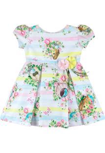 Vestido Infantil Essência Viva Passarinhos Do Campo Rosa